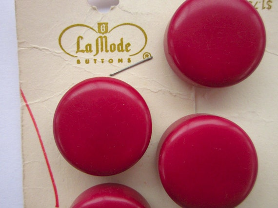 """4 Vintage Buttons, La Mode Cherry Red Plastic, 1"""" Chunky Dot, on Original Cards"""