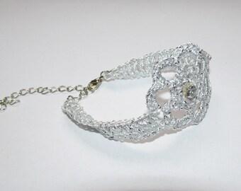 Crochet Flower Bracelet - crocheted bracelet unique bracelet silver color bracelet handmade elegant bracelet women bracelet gift (CB-3)