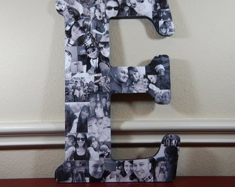 10 Inch Custom Photo Collage, Photo Collage Letter, Photo Collage on Wood, Photo Collage Gift, Personal Collage, Custom Photo Letters
