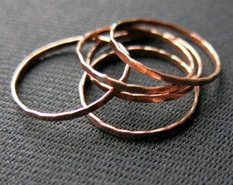 Stacking ring, faceted, 1.2mm, copper