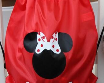 Minnie/Mickey Personalized Drawstring Backpack/Cinch bag Disney, Drawstring Disney bag, Mickey bag, Minnie bag