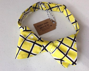 Yellow Something & Navy Plaid Bow Tie