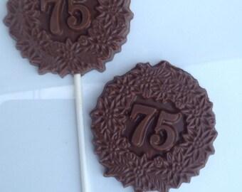 12 75th birthday Chocolate pops