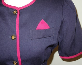 SALE 50% OFF - Vintage 1980s blue and pink button down dress with cinched in waist