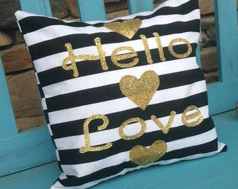 Hello Love Accent Pillow Case with Pillow Insert Included