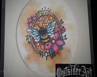 Bumble bee, queen bee, art print, tattoo inspired art