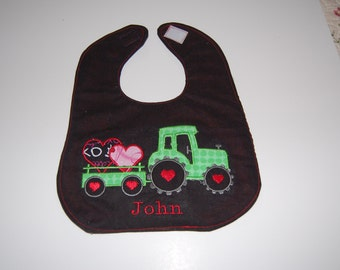 Boys Tractor and Heart Bib