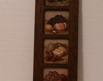 Vintage Hank Bog Framed Fruit Art, Wooden Framed Hank Bog Art
