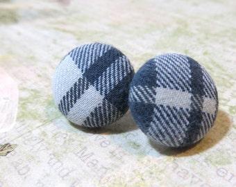 Blue Plaid Button Fabric Earrings