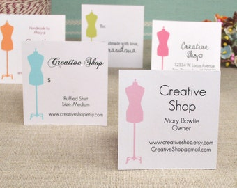 EDITABLE Printable Dress Form Colored - Address Labels, Business Cards, Hang or Price Tags, Gift Tags, - YOU change the text again and again