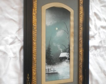 Late 19th Century Enchanting Pastel Winter Scene Original Art