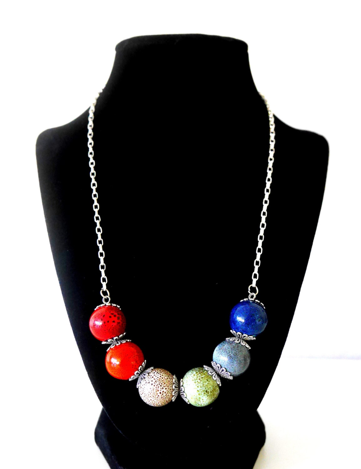 silver multi colored statement necklace with large
