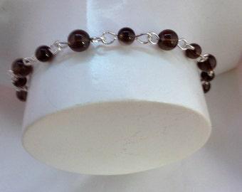 Smokey quartz & sterling silver bracelet