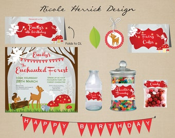 Woodlands Enchanted Forest Birthday Party Invitation Printables Set