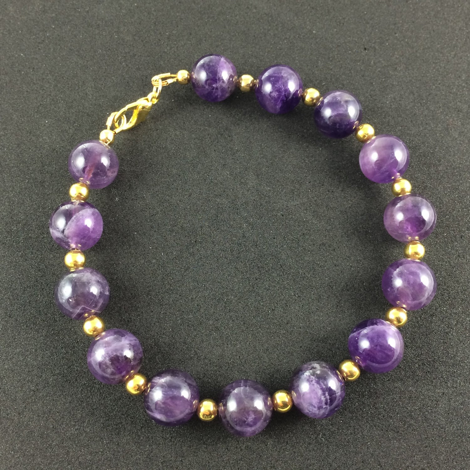 Plus size amethyst and gold bracelet for Plus size jewelry bracelets