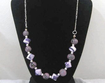 Handcrafted Purple Necklace with Lentil Beads
