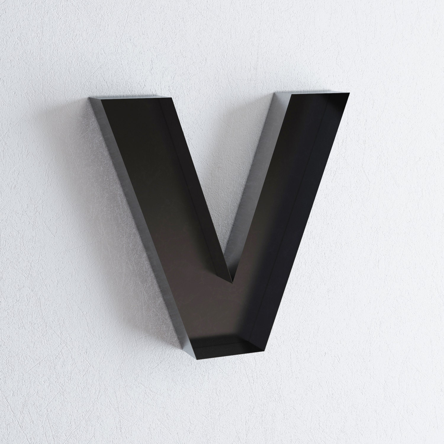 Metal v sign letter wall decor metal wall letters by metalya Wall letters decor