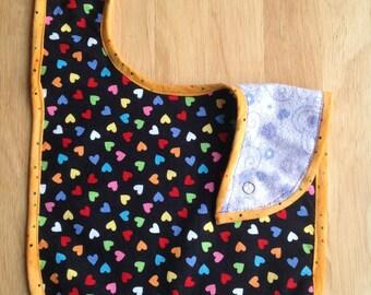 multicolored heart bib