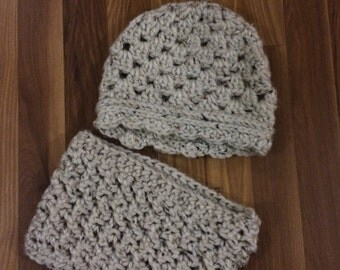 Crocheted Cap/Hat with Matching Cowl, textured cream
