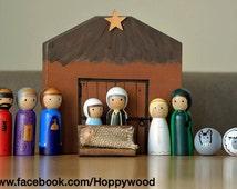 Hand Painted Peg Doll Nativity Scene, Nativity set, Peg Doll Nativity set, Christmas Nativity set, Christmas gift, Festive display