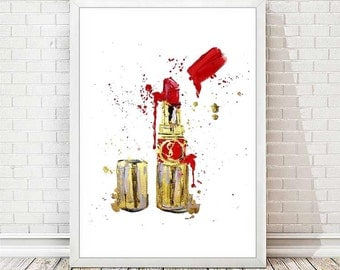 Fashion Illustration Print Lipstick Poster Watercolor Fashion YSL Poster Lips Paris Primping Modern Art Print Abstract Art Wall Decor A133