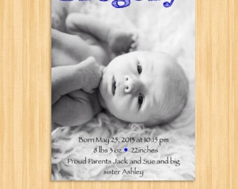 Custom Digital Hello Baby Boy Birth Announcement