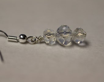 Clear Crystals on Sterling Silver Earwires. (S-150041)