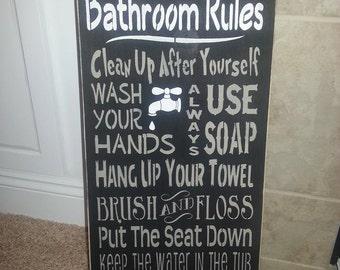 Primitive Bathroom Rules Sign