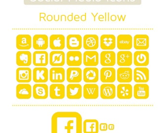 Yellow Social Media Icons - Set of 32 - 128 Icons in total