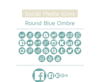 Blue Ombre Watercolor Social Media Icons