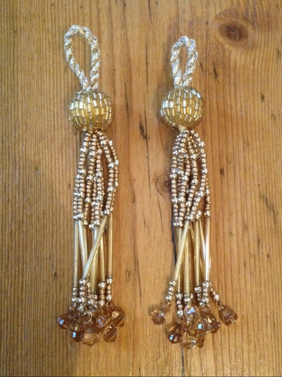 gold beaded tassel trim by talulahbluetrims on etsy