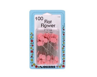 """100 Pink Flat Flower Pins 1-7/8"""" by Collins Item W-156"""