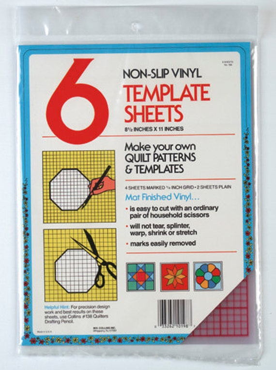 6 Quilting Template Plastic Sheets by Collins W-198