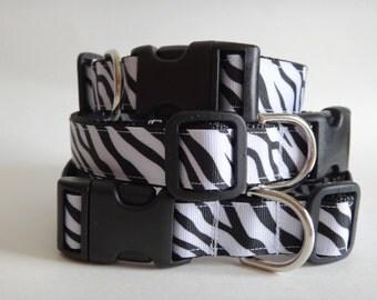 "Dog Collar - Adjustable Dog Collar - Zebra Print Girl Dog Collar 1"" Wide - Large Dog Collar"
