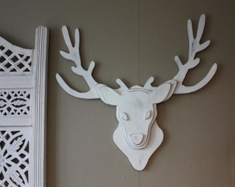 wooden deer head trophy