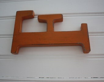Letter F orange wood patina to hang