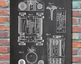 First Computer patent 1889 Patent Art , Patent Print, Blueprint, Patent Poster, Plexity Prints #015
