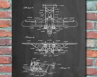Amphibian Aircraft Patent Wall Art Print, Blueprint, Patent Print, Patent Poster, Plexity Prints #003