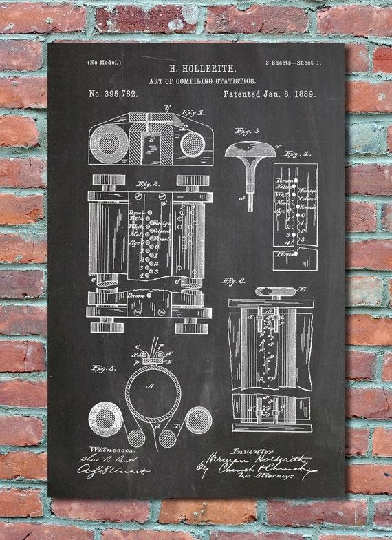 First computer patent 1889 patent art patent print like this item malvernweather Choice Image