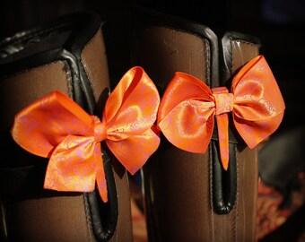 Orange with Purple Outline Flower Bow Shoe Clip