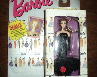 """Vintage BARBIE KEYCHAIN, Teenage Fashion Model  in the original boxed package of the """"Solo in the Spotlight Barbie"""", Introduced 1960"""
