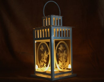 Etched Glass Lantern with Butterfly Design in Black or White
