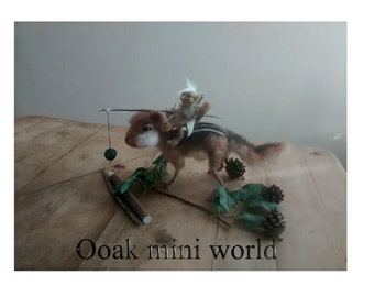 Ooak polymer clay goblin riding a needle felted chipmunk sculpt  ,Waldorf fairy tale animal , wildlife , doll, miniature  mythical fibre art