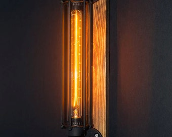 Industrial sconce lamp wood base