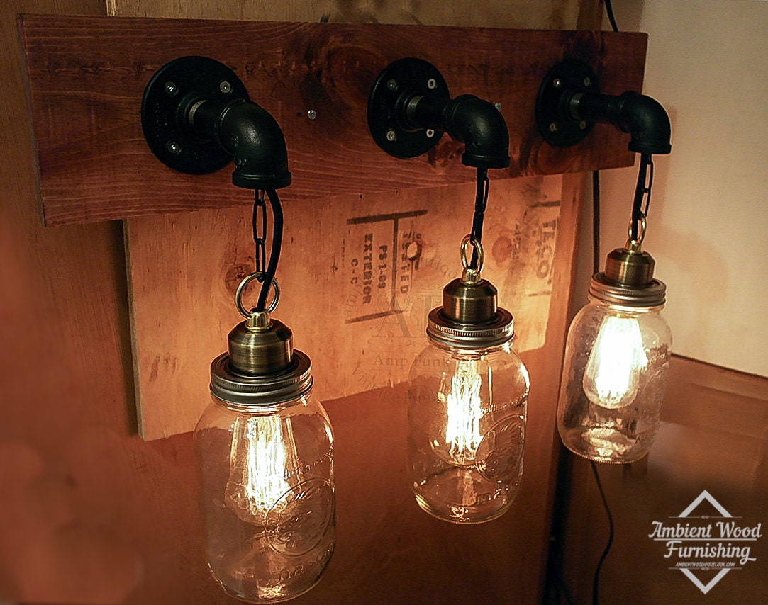 Bathroom Vanity Bar Light Fixture of Mason Jars & by AmbientWood