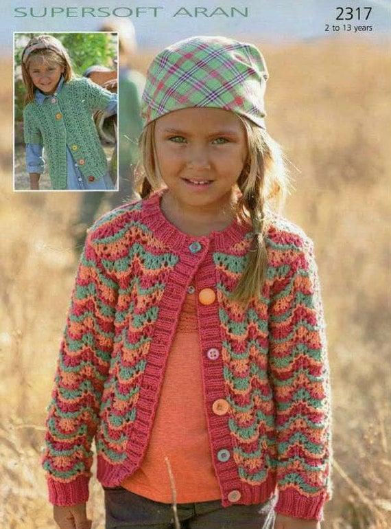 Vintage Knitting Pattern Childrens Lace Cardigan Size 2-13
