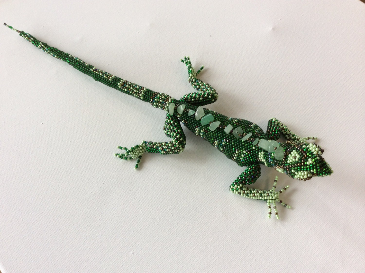 beaded seed bead lizard strung in by