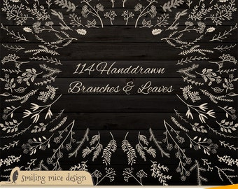 BRANCHES and LEAVES on dark wood / digital cliparts, sketchy clipart pack with branches and leaves