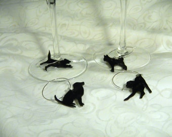 """silhouette dogs wine charms, set of 4, 100% recycled plastic """"shrinky dink"""""""