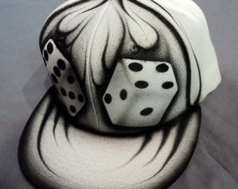 Airbrushed Dice Snapback Hat Hand Painted airbrush
